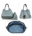 Geanta tip sac din piele ecologica albastra cu accesoriu din blanita  - 2