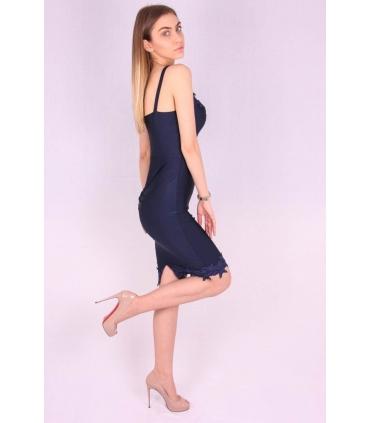 Rochie albastra lejera cu bust buretat  - 1