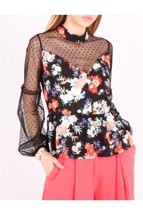 Top negru cu print floral  - 1