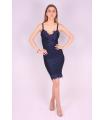 Rochie albastra lejera cu bust buretat  - 2
