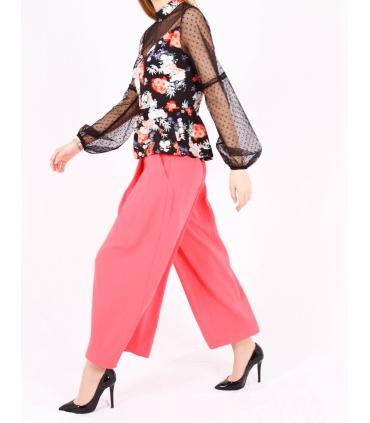 Pantaloni roz evazati  - 4