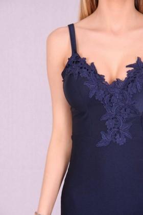 Rochie albastra lejera cu bust buretat  - 5