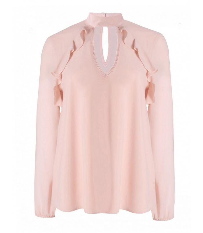 Bluza roz cu decolteu in V  - 1