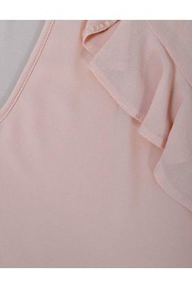 Bluza roz cu decolteu in V  - 2