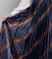 Fusta plisata multicolora, midi, tull negru cu dungi bej si particule stralucitoare  - 4