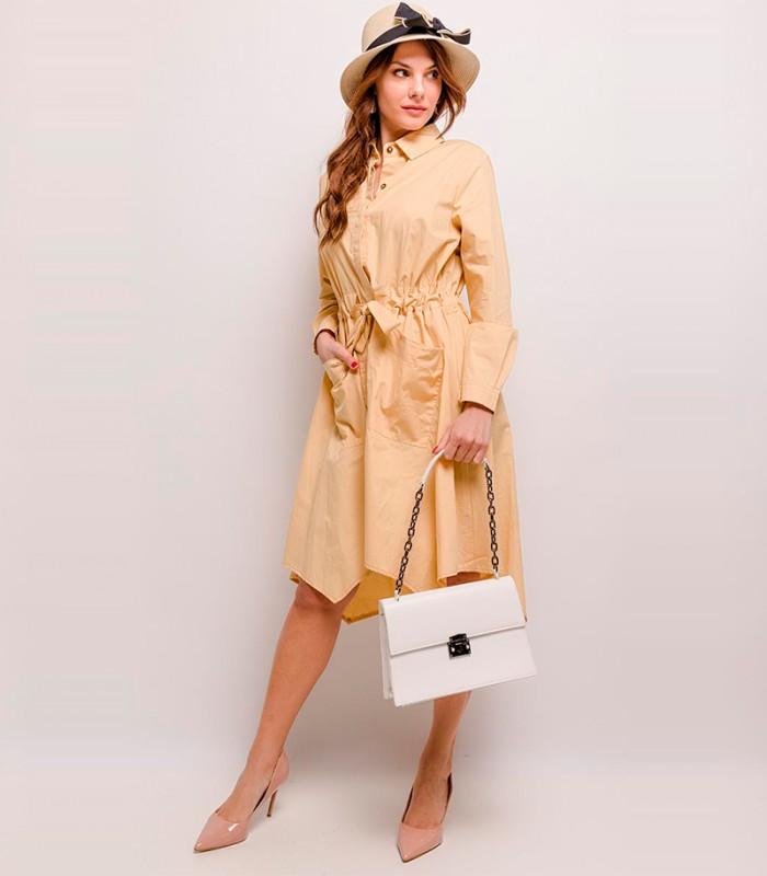Rochie tip camasa galben deschis, cordon in talie  - 1