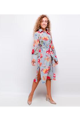 Rochie tip camasa albastra cu imprimeu floral  - 1