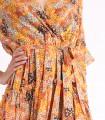 Rochie cu volane, portocalie si imprimeu floral  - 3