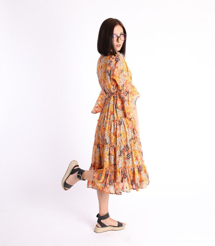 Rochie cu volane, portocalie si imprimeu floral  - 1