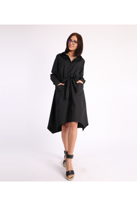 Rochie tip camasa neagra, cordon in talie  - 1