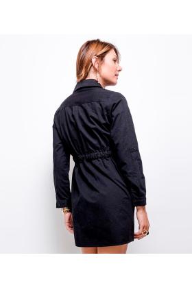Rochie tip camasa neagra, scurta cu fermoar auriu  - 2