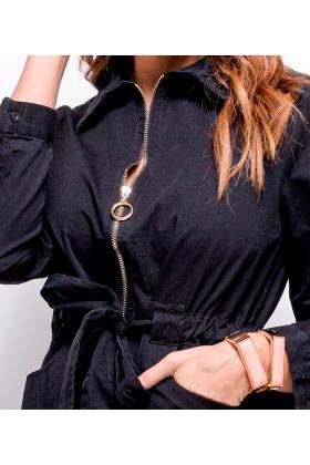 Rochie tip camasa neagra, scurta cu fermoar auriu  - 3