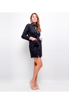 Rochie tip camasa neagra, scurta cu fermoar auriu  - 4