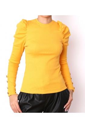 Bluza galben mustar cu umerii bufanti si nasturi la maneci  - 1