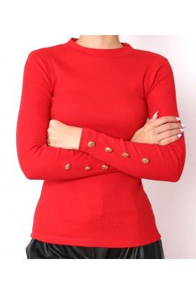 Bluza rosie cu nasturi aurii  - 1