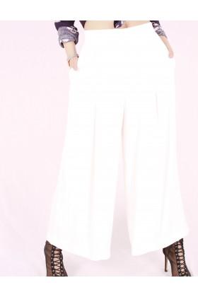 Pantaloni largi evazati de culoare alba Raspberry - 1