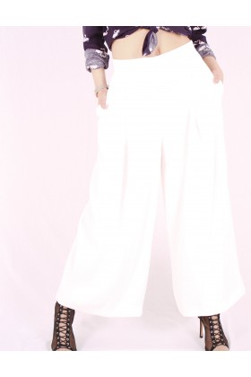 Pantaloni largi evazati de culoare alba Raspberry - 2