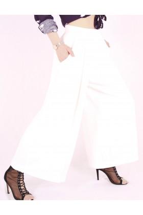 Pantaloni largi evazati de culoare alba Raspberry - 3