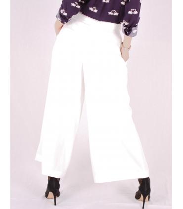 Pantaloni largi evazati de culoare alba Raspberry - 4