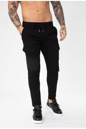 Pantaloni cargo negri, clasici cu snur in talie Frilivin - 1