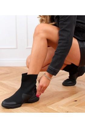 Sneakers negri inalti din material textil si talpa groasa  - 1