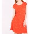 Rochie de vara portocalie cu imprimeu floral