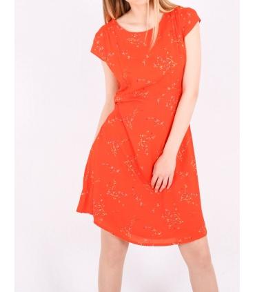 Rochie de vara portocalie cu imprimeu floral  - 2