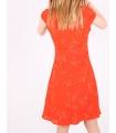 Rochie de vara portocalie cu imprimeu floral  - 4