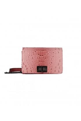 Poseta casual roz, imitatie piele de crocodil  - 1