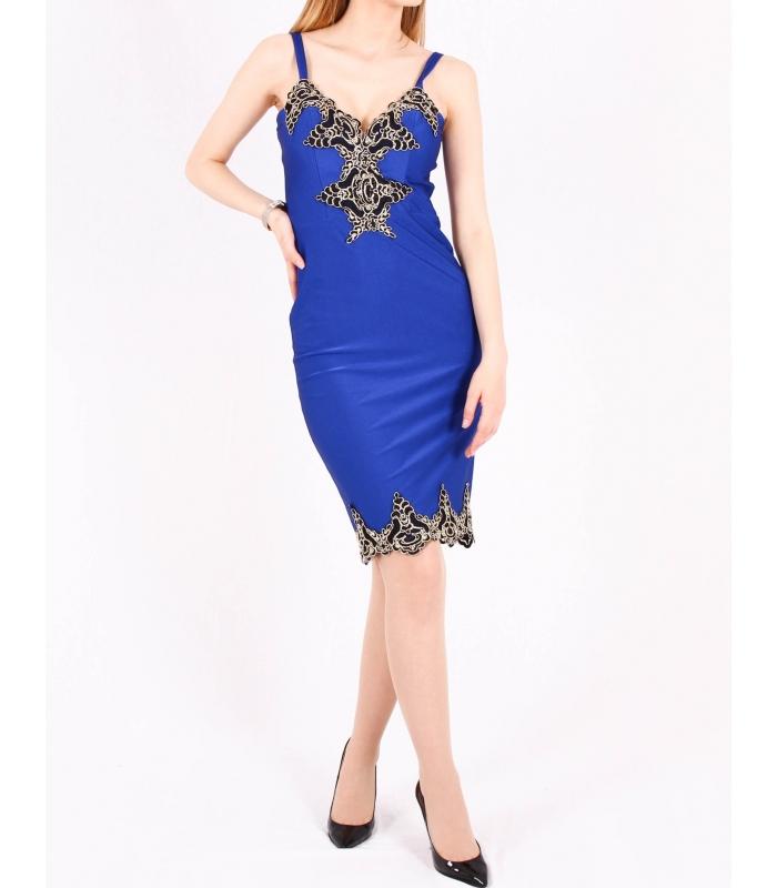 Rochie mulata albastra cu bust buretat  - 1