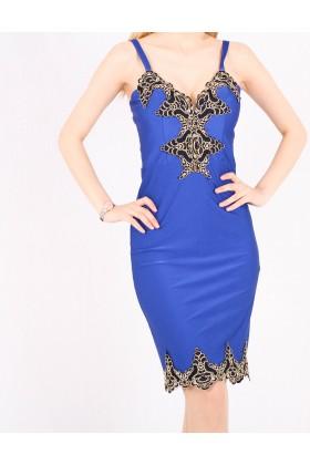 Rochie mulata albastra cu bust buretat  - 2