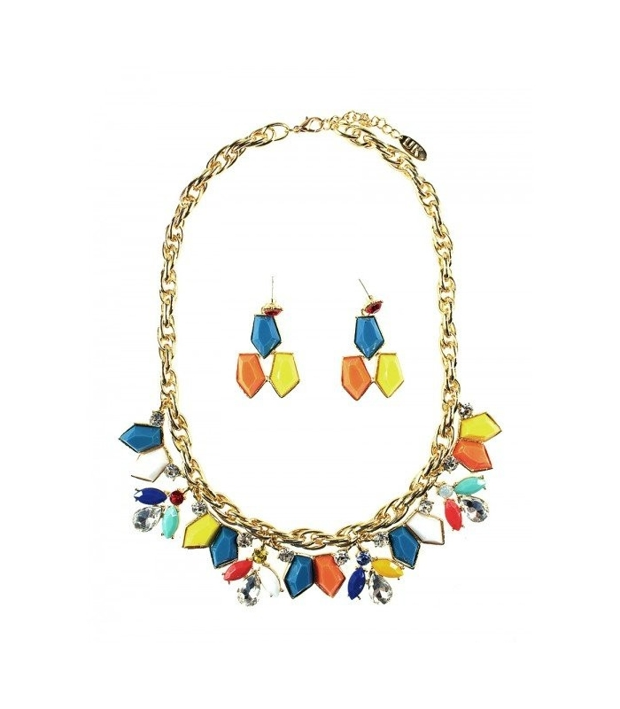 Colier auriu si Cercei cu pietre colorate  - 1