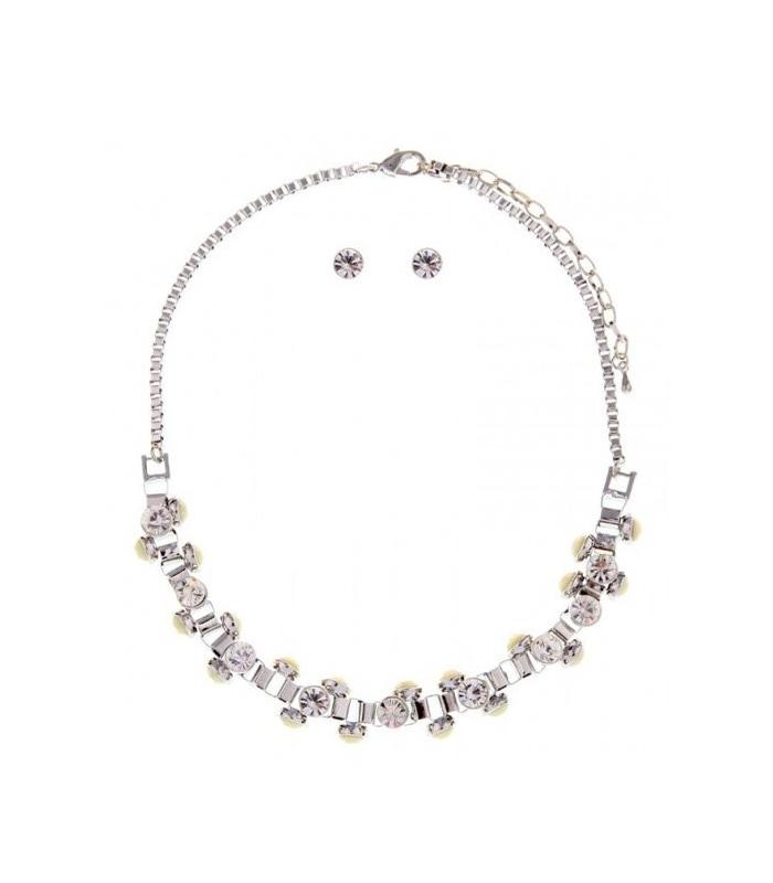 Colier elegant si Cercei cu pietre albe si argintii  - 1