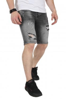Blugi scurti gri in degrade cu rupturi langa genunchi Kenzarro - 3