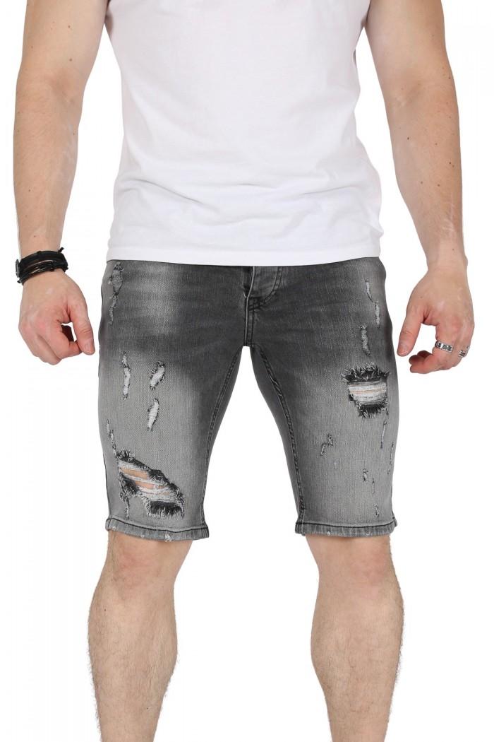 Blugi scurti gri in degrade cu rupturi langa genunchi Kenzarro - 1