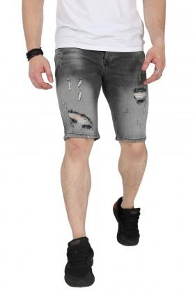 Blugi scurti gri in degrade cu rupturi langa genunchi Kenzarro - 2