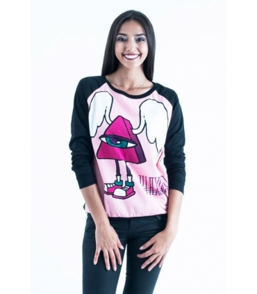 Bluza neagra cu imprimeu roz in fata  - 2