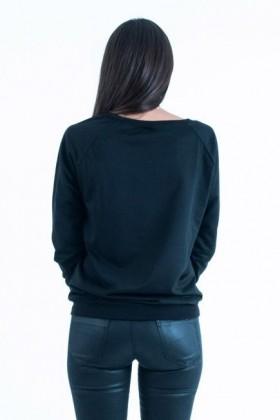 Bluza neagra cu imprimeu roz in fata  - 3