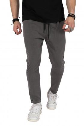 Pantaloni casual gri, cu snur in talie  - 1
