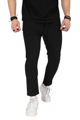 Pantaloni casual negri, cu snur in talie Frilivin - 1