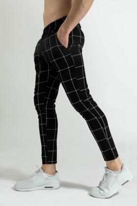 Pantaloni casual negri cu snur in talie si carouri albe Frilivin - 1