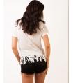 Tricou alb cu franjuri si imprimeu cu flamingo  - 3