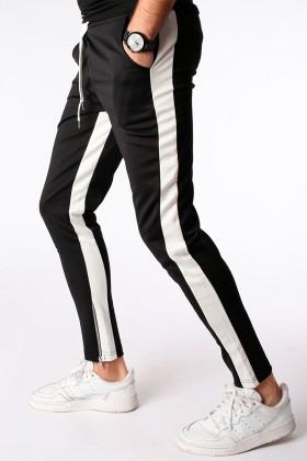 Pantaloni casual negri cu dunga alba, snur in talie si fermoar la glezna  - 1