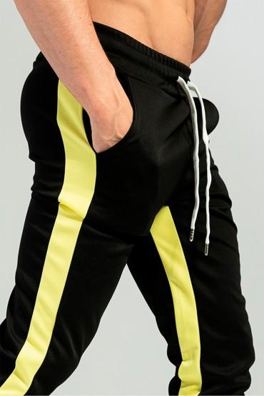 Pantaloni casual negri cu dunga galbena, snur in talie si fermoar la glenze Frilivin - 6
