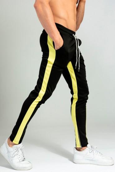 Pantaloni casual negri cu dunga galbena, snur in talie si fermoar la glenze Frilivin - 2