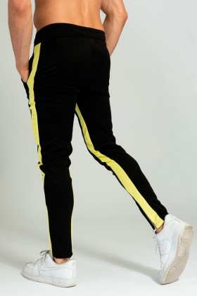 Pantaloni casual negri cu dunga galbena, snur in talie si fermoar la glenze Frilivin - 3