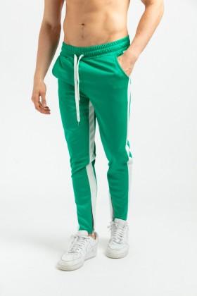 Pantaloni casual verzi cu dunga alba, snur in talie si fermoar la glezne  - 2