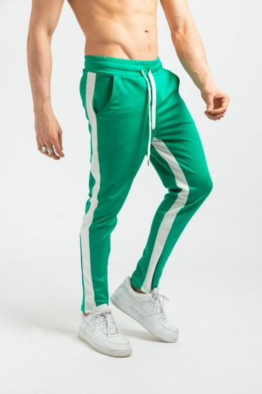 Pantaloni casual verzi cu dunga alba, snur in talie si fermoar la glezne  - 1