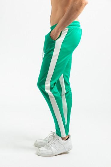Pantaloni casual verzi cu dunga alba, snur in talie si fermoar la glezne  - 3