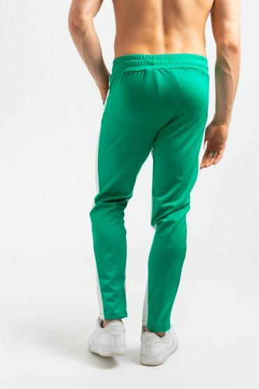Pantaloni casual verzi cu dunga alba, snur in talie si fermoar la glezne  - 4